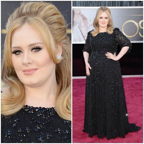Adele in a noir Jenny Packham dress