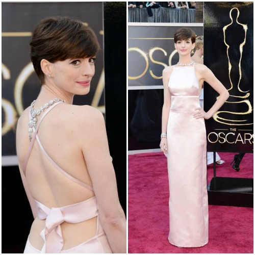 Anne Hathaway in a blushing high-neck Prada gown.Read more: Oscars Red Carpet 2013 - Pictures from 2013 Academy Awards Red Carpet