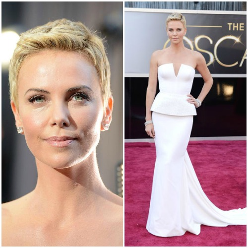 Charlize Theron in a sculptural Dior Couture gown.Read more: Oscars Red Carpet 2013 - Pictures from 2013 Academy Awards Red Carpet