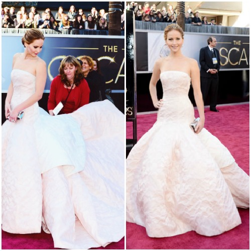 Jennifer Lawrence in a stunning drop-waist Dior Haute Couture gown.Read more: Oscars Red Carpet 2013 - Pictures from 2013 Academy Awards Red Carpet