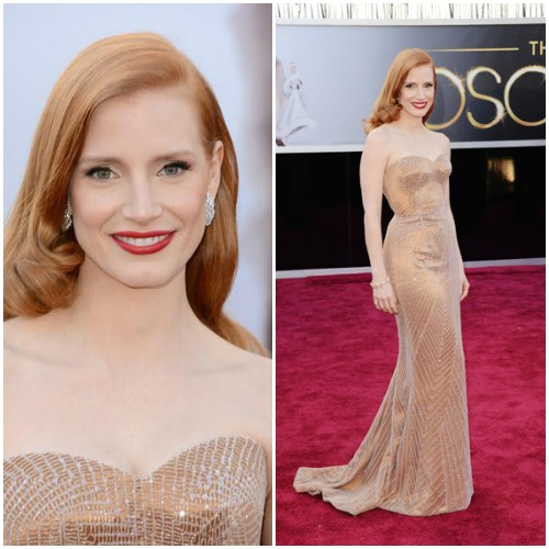 Jessica Chastain in a copper-hued Armani Privé gown.Read more: Oscars Red Carpet 2013 - Pictures from 2013 Academy Awards Red Carpet