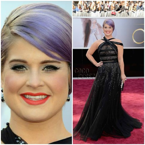 Kelly Osbourne in a black shimmery & strappy Tony Ward Couture dress.