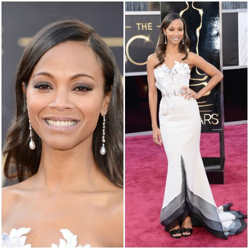 Zoe Saldana in lovely and lavender Alexis Mabille Haute Couture.Read more: Oscars Red Carpet 2013 - Pictures from 2013 Academy Awards Red Carpet