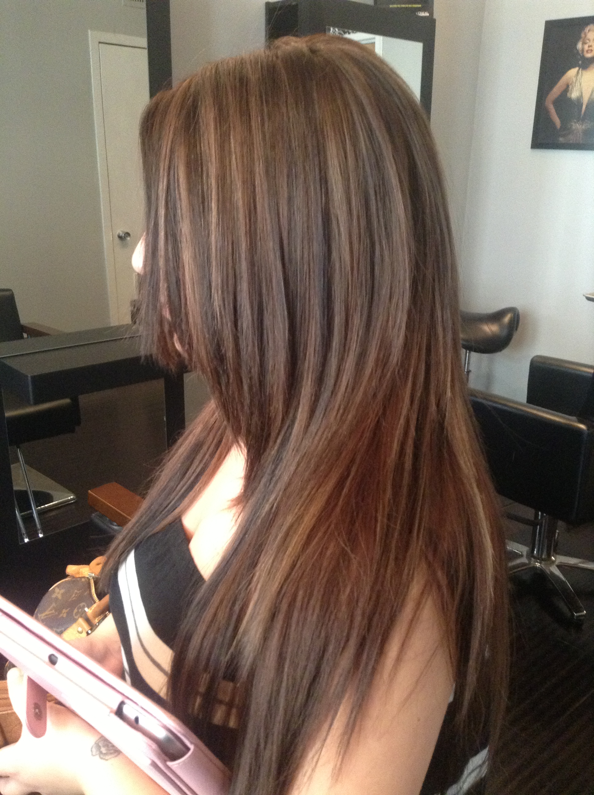 brunette with caramel highlights west palm beach hair salon hair