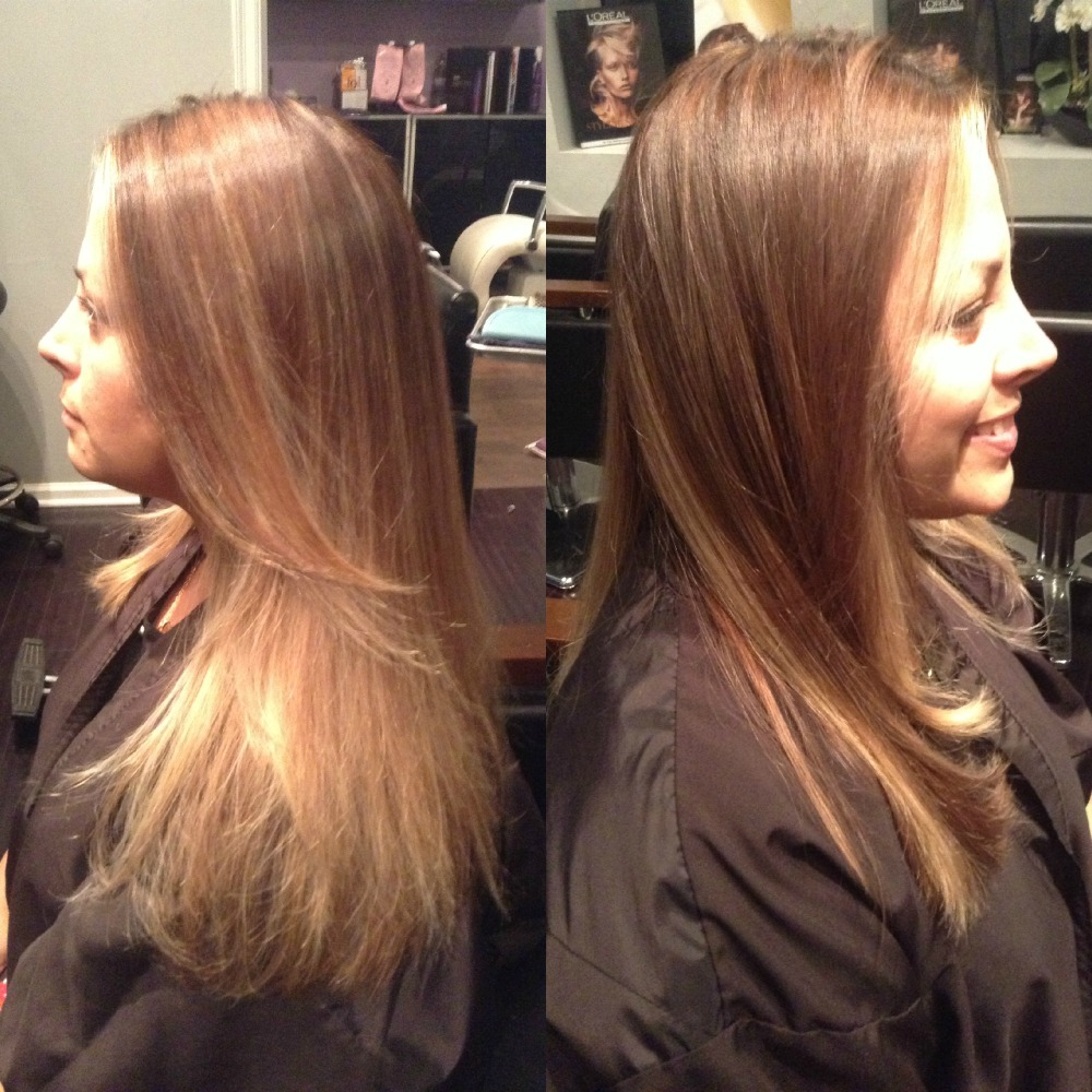 Maggie, Light Rich Brown with Ombre Highlights - West Palm Beach Hair Salon